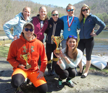 The Albion College Canoe Club shows the trophies it won during the American Canoe Association's Collegiate National Championships