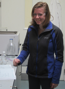 Stephanie Sanders has returned to Trinity College in Ireland to continue her research on nanoparticles. Photograph supplied by Kevin Metz.