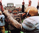 Players from the 1994 Albion football team moments after winning the NCAA Division III national championship.