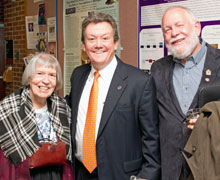 Harrington with former professors Robina Quale-Leach (history) and Gene Cline (philosophy)