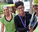 A new Albion College student arrives on campus during Move-In and Matriculation Day, August 18, 2017.