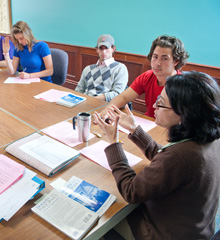 Professor Bindu Madhok has a discussion with her philosophy class.