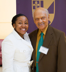 Dr. Curtis and endowed scholarship recipient Sharla Rider, '14, connected at the recent Stockwell Society/Endowed Scholarship Luncheon.