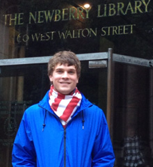 Gerry Battersby, '14, studied at the Newberry Research Library in Chicago during the Fall 2012 semester.