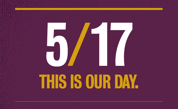 Text graphic: 5/17 -- This Is Our Day
