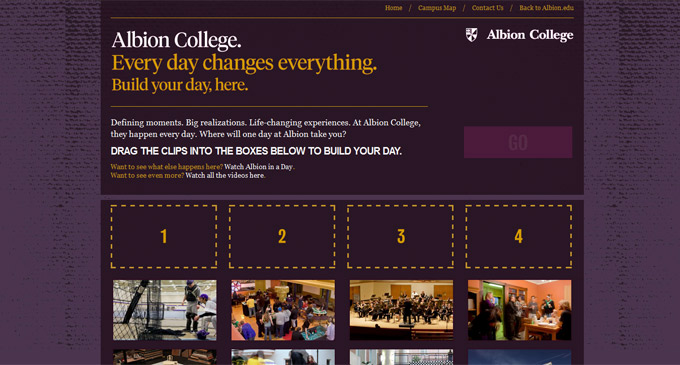 Build your day at Albion at experience.albion.edu.