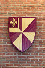 The Albion College shield in Bonta Admission Center.