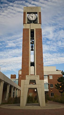 The William K. Stoffer Clock Tower, adjacent to the Norris Center and Science Complex.