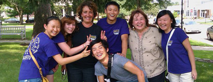 Albion College international students and Center for International Education staff have fun in front of the camera.