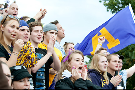 Albion's student section at a Briton football game