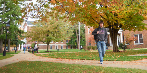 Students on an Albion College campus walkway during fall 2012.