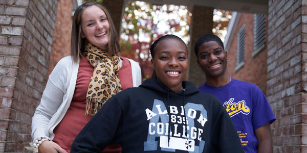 Students outside Baldwin Hall, fall 2012