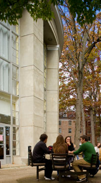Students eating outside on the Baldwin Hall patio