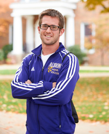 An Albion College men's soccer student-athlete.