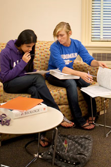 Students studying in Stockwell Library's Cutler Commons.