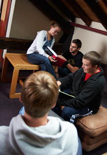Students in the fourth floor of the Kellogg Center.