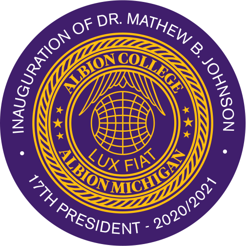 Presidential Inaugural Seal, reads Inauguration of Dr. Mathew B. Johnson, 17th President, 2020/2021.