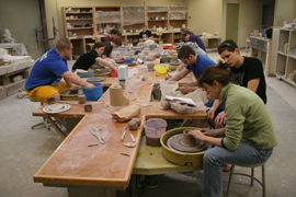 Ceramics studio in Albion College's Bobbitt Visual Arts Center
