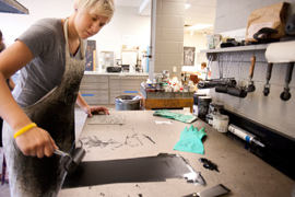 Printmaking studio in Albion College's Bobbitt Visual Arts Center