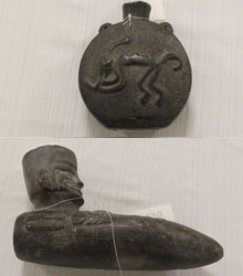 Above top: Inka-Chimú vase, circa 1100-1500 CE.  Bottom: A ceremonial paqcha. Designed to look like a digging tool, this artifact was likely filled with maize beer, poured out during a ceremony to inspire fertility or prosperity. Through her research, Wagener sees this artifact as an example of cultural blending, an Inkan ceremonial object crafted in  the Chimú artistic tradition.