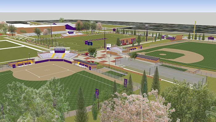 An artist's rendering of the new softball complex.