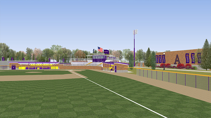 An artist's rendering of the new baseball complex.