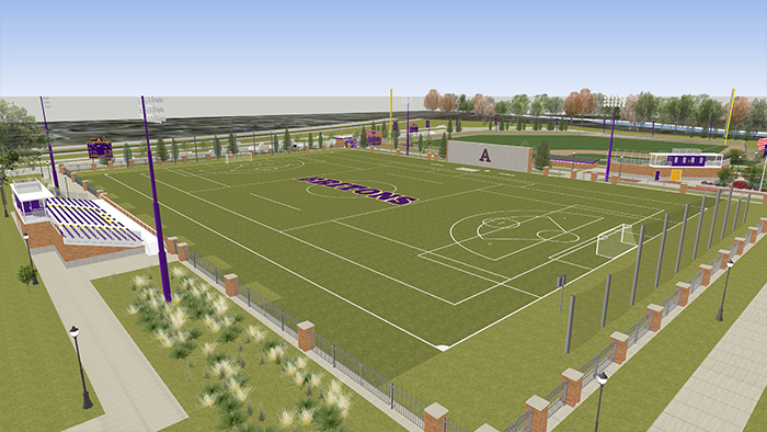 An artist's rendering of the new soccer and lacrosse field.