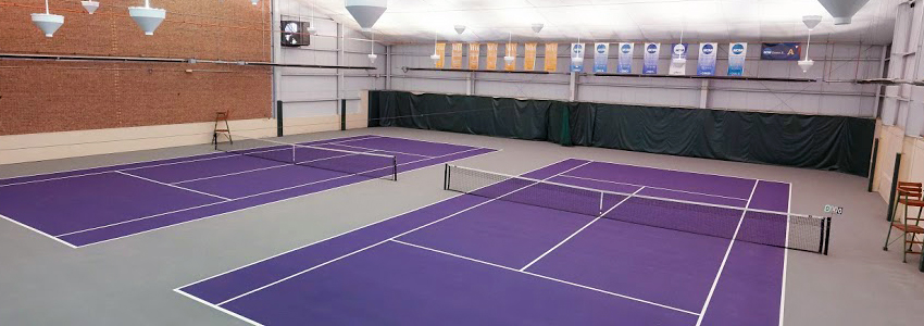 Ungrodt Tennis Center's indoor tennis courts, with a purple playing surface.