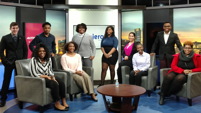 Students on the set of a television show, as a part of a field trip to Chicago with the Career and Internship Center.