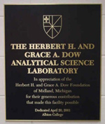 Dow Lab plaque in Albion College's Science Complex