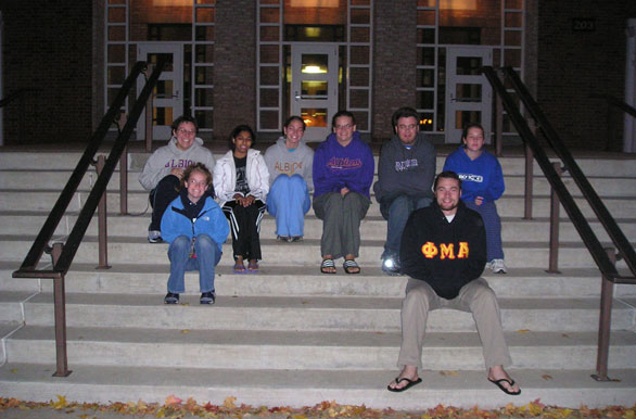 Students on the steps
