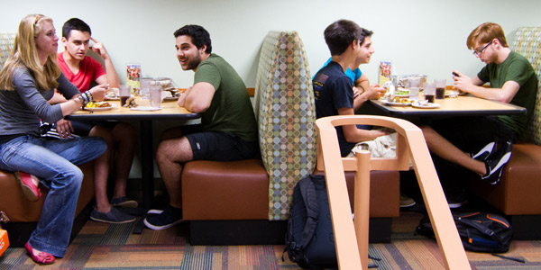 Students dining in Lower Baldwin