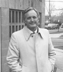 McCarley in front of Epworth Hall, 1987