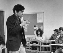 Albion College English professor Charles Crupi with a class in 1981