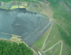 A valley filled with coal washing sludge.  Photo courtesy of Southwings