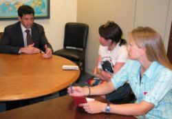 Erica and Lisa discuss global change policy with Senator Debbie Stabenow's environmental aide