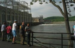 The Conowingo Dam on the Susquehanna provides renewable power, but at the cost of interfering with American Shad and other fish migration.  A fish elevator has been installed to help alleviate this problem
