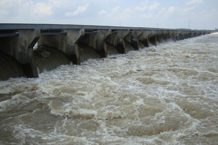 Bonnet Carré Spillway during a flood, as seen on CSE's Louisiana trip.