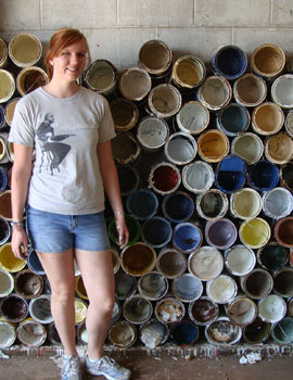 Volunteering at a paint recycling center during CSE's trip to New Orleans and coastal Louisiana.