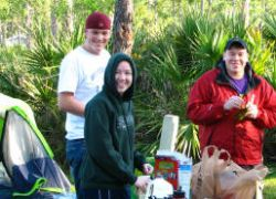 John Catherine and Mike enjoy breakfast in Jonathan Dickinson State park