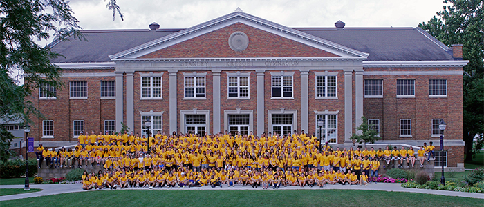 First year students in front of Kresge Gym.