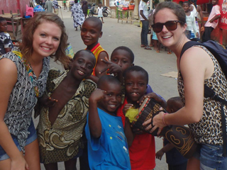 Marissa Cloutier in the Ekumfi district of central Ghana with the Global Brigades.