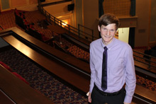 Matt Kribs, '18 at the Bohm Theatre.