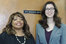 Albion City Manager Sheryl Mitchell, left, with intern Danielle Nelson, '17.
