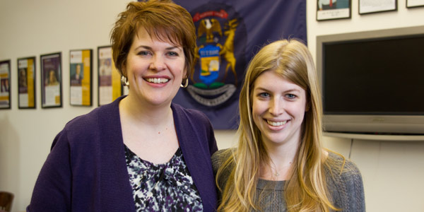 Jennifer Tagg, '13, (right) with Michigan State Representative Kate Segal.