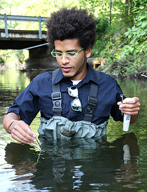 Andrew Franklin collects samples in Rice Creek