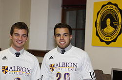 Evan Malecke and Andy Bieber, members of Albion College's Gerstacker Institute and soccer team.