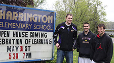 Bob Wernet, Luke Walker, and Sean Hendon mentored students at Albion's Harrington Elementary School.