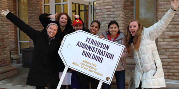 Philanthropy Week - Students with the Ferguson Administrative building sign