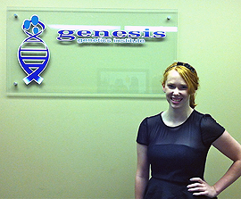 Heather Stoner, '14, at Genesis Genetics Institute in Detroit